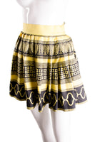 Silk Greek Key Print Skirt