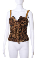 Dolce and GabbanaLeopard Silk Bustier Top- irvrsbl