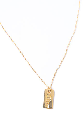 Christian DiorGold Dog Tag Necklace- irvrsbl
