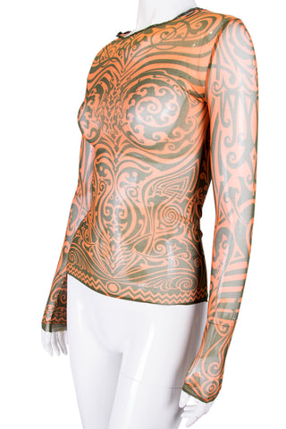 Sheer Tattoo Printed Top