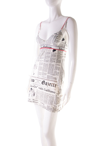 John GallianoNewspaper Print Slip Dress- irvrsbl