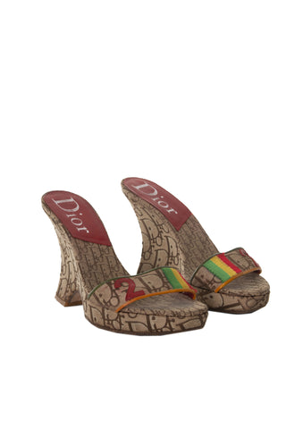 Rasta Monogram Wedges