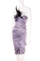 Strapless Dress with Feather Pin