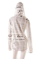 John GallianoNewspaper Print Hooded Top- irvrsbl