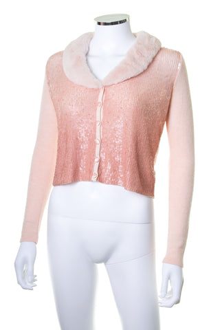 Sequin Cardigan with Fur Collar