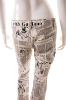 John GallianoNewspaper Printed Pants- irvrsbl