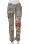 Embroidered Animal Print Jeans