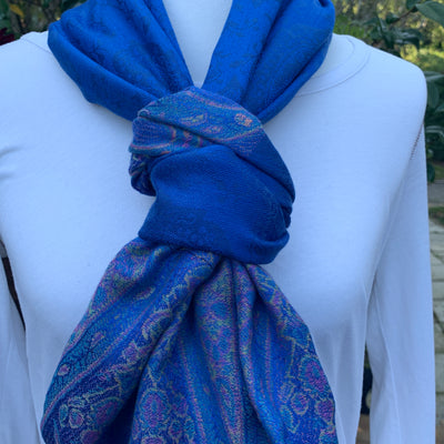 Paisley - Royal Blue - Pashmina Infinity Scarf with Reinforced Hidden Zipper Pocket