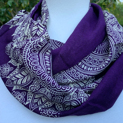 Paisley- Purple & Ivory Infinity Scarf with a Hidden Pocket - Reversible