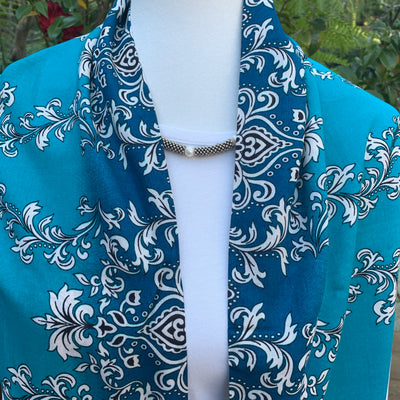 Pattern - Turquoise, Black & Ivory Infinity Scarf with Hidden Zipper Pocket - Reversible