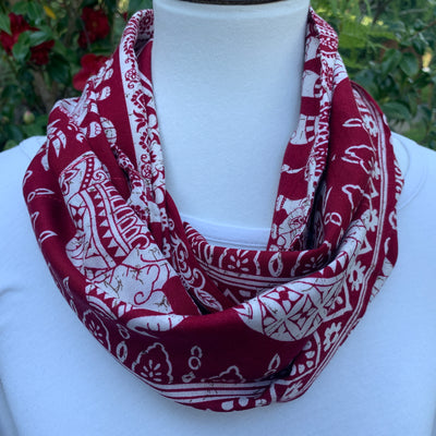 Elephant - Mother & Baby - Cranberry & White -  Infinity Scarf with Hidden Zipper Pocket