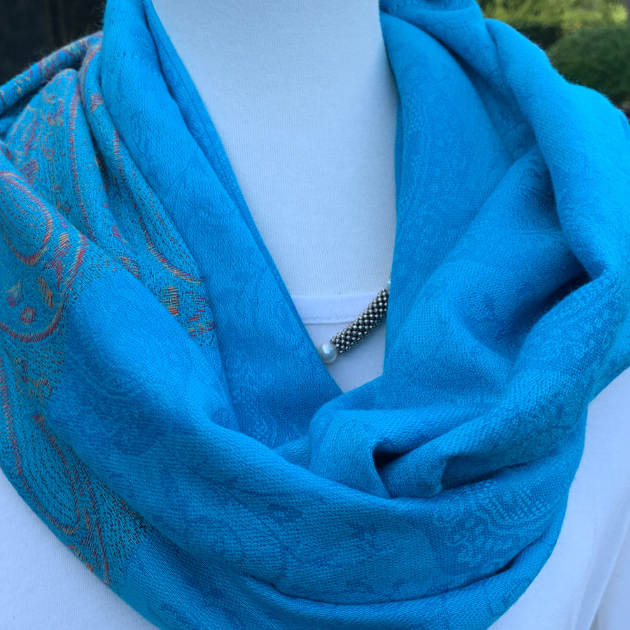 Paisley - Turquoise, Light Pink/Bronze - Pashmina Infinity Scarf