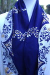 Pattern - Deep Blue, Ivory & Gold Infinity Scarf with Hidden Zipper Pocket - Reversible