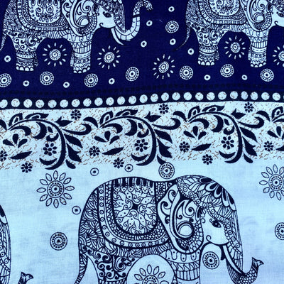 Elephant Parade - Navy Blue & Ivory - Infinity Scarf with Hidden Zipper Pocket