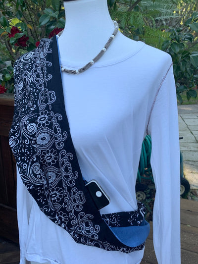 Paisley - Blues, Black & White Infinity Scarf with Hidden Zipper Pocket - Reversible