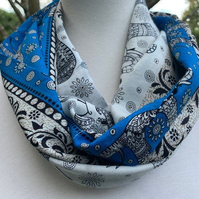 Elephant Parade - Royal Blue, Black &  Ivory  Infinity Scarf with Hidden Zipper Pocket - Reversible