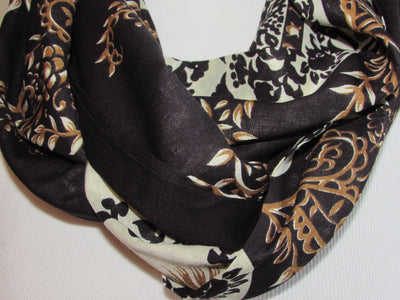 Pattern - Black, Ivory & Gold Infinity Scarf with Hidden Zipper Pocket