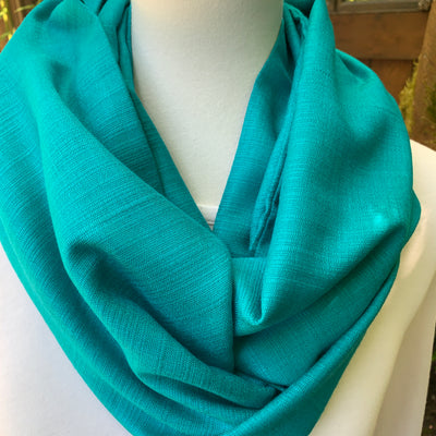 Light Teal  - Soft Silk Blend - Infinity Scarf with Reinforced Hidden Zipper Pocket