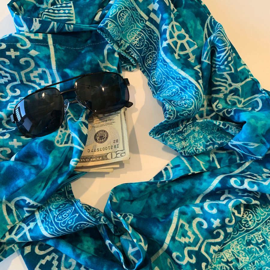 Elephant - Teal Blue Batik Infinity Scarf with Hidden Zipper Pocket