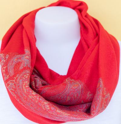 Paisley - Red - Infinity Scarf with Reinforced Hidden Zipper Pocket