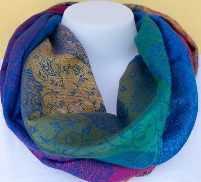 MultiColored -Pashmina Infinity Scarf with Reinforced Hidden Zipper Pocket