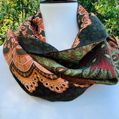 Paisley - Earthy Colors - Greens & Peach Infinity Scarf with a Hidden Zipper Pocket