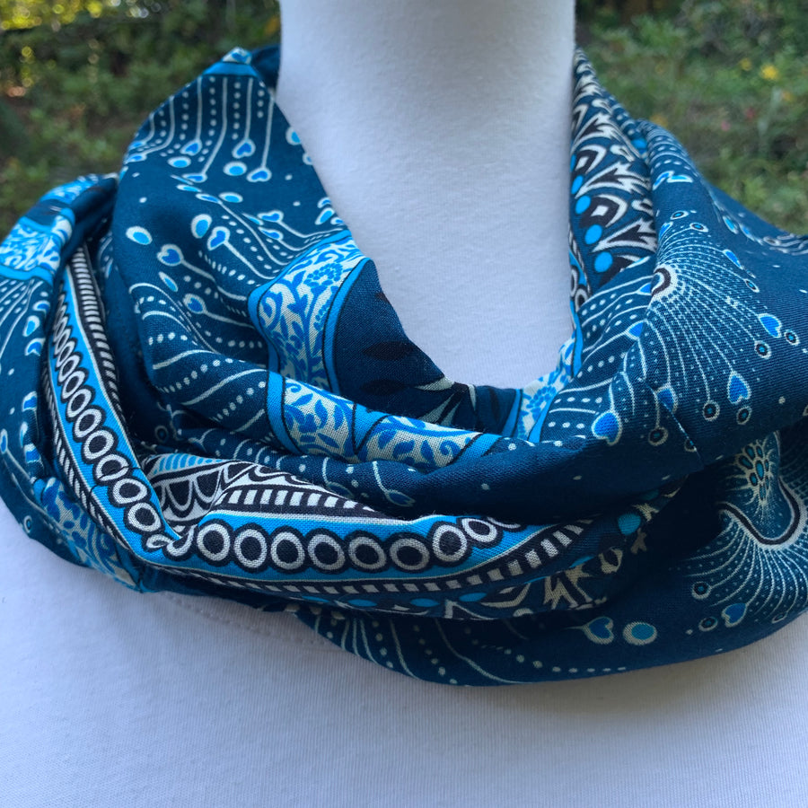 Paisley - Teal &  Sky Blue  & White Infinity Scarf with Hidden Zipper Pocket