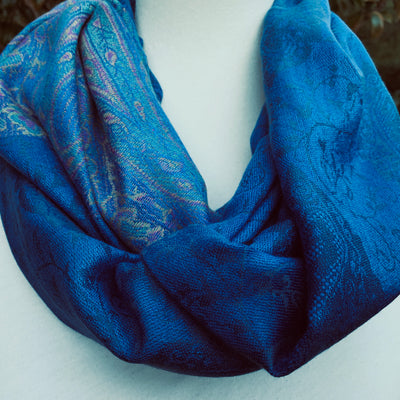Paisley - Indigo Blue - Pashmina Infinity Scarf with Reinforced Hidden Zipper Pocket