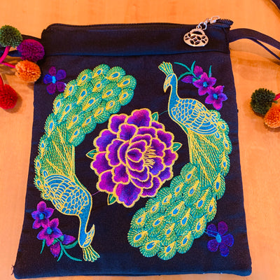 Purse - Shoulder Strap Tote - Peacocks
