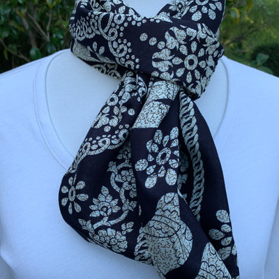 Elephant - Black & Ivory -Infinity Scarf with Hidden Zipper Pocket - Available 2/14