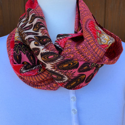 On Sale - Elephant - Salmon Pink, Ivory & Black- Reversible -Infinity Scarf with Hidden Zipper Pocket