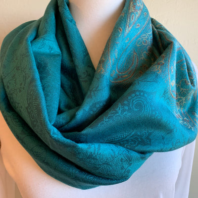 Aqua/Torquoise  - Infinity Scarf with Reinforced Hidden Zipper Pocket