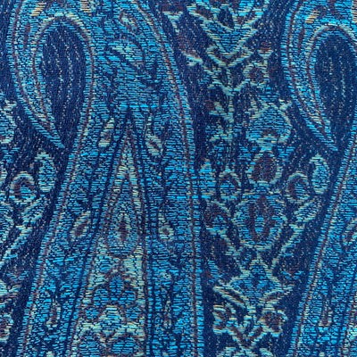 Paisley - Indigo Blue Infinity Scarf with Reinforced Hidden Zipper Pocket