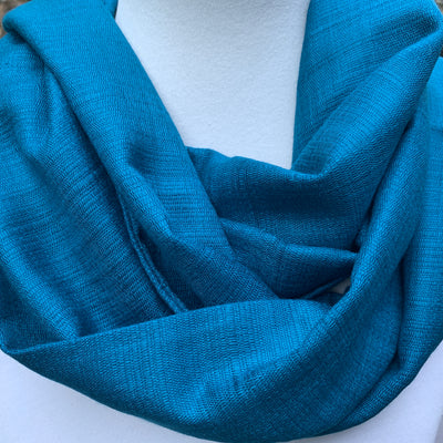 Deep Teal  - Soft Silk Blend - Infinity Scarf with Reinforced Hidden Zipper Pocket