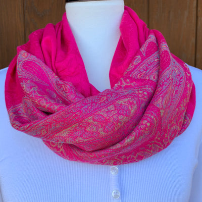 Passion Pink - Pashmina Infinity Scarf with Reinforced Hidden Zipper Pocket