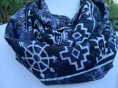 Elephant - Navy Blue Batik Infinity Scarf with Hidden Zipper Pocket