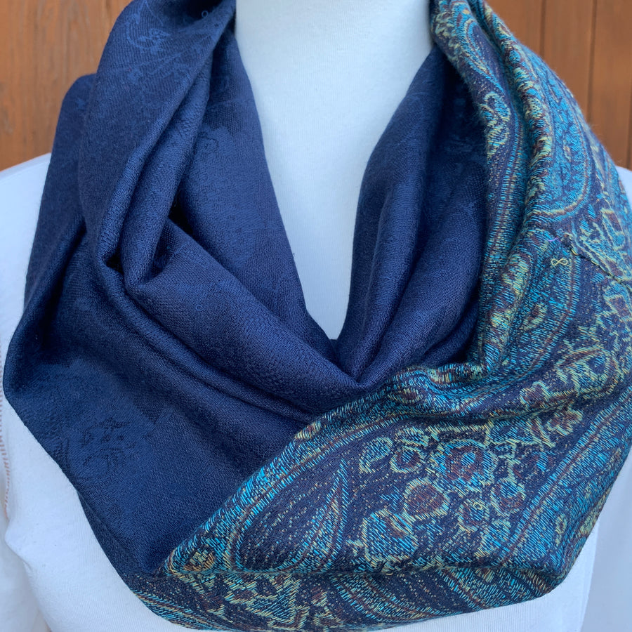 Paisley - Navy Blue - Pashmina Infinity Scarf with Lined Hidden Zipper Pocket