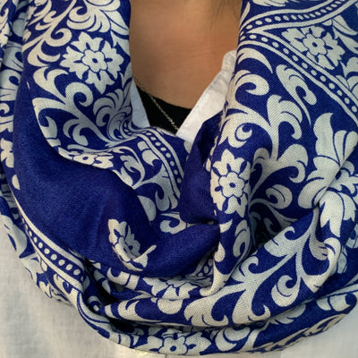 Paisley - Royal Blue & White Infinity Scarf with Hidden Zipper Pocket - Reversible