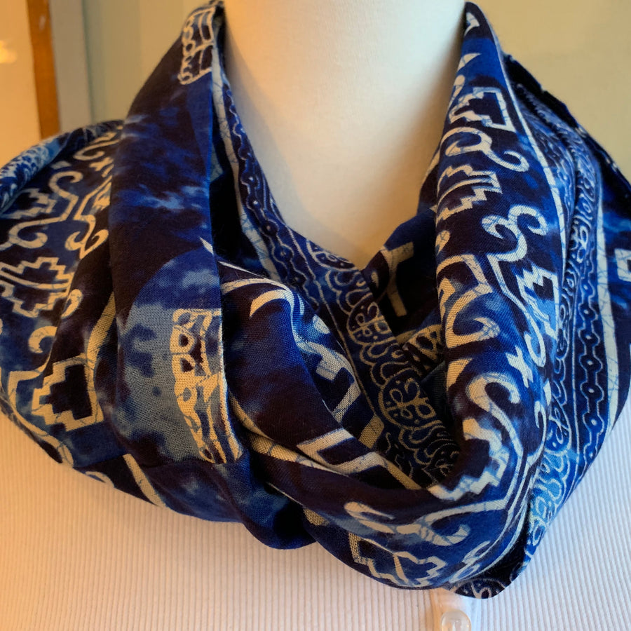 Elephant - Blue Batik Infinity Scarf with Hidden Zipper Pocket- Available 10/15!