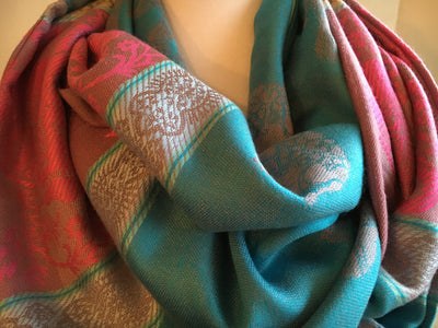 Aqua Blue, Silver & Pink Infinity Scarf - With Hidden Zipper Pocket