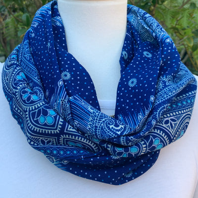 Pattern - Indigo Blue, Turquoise & White with Peacock Infinity Scarf with Hidden Zipper Pocket - Reversible