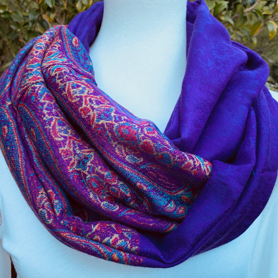 Purple Pashmina with Reinforced Hidden Zipper Pocket