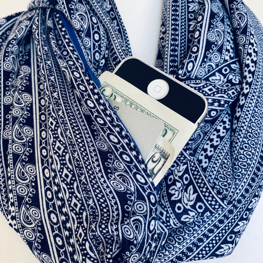 Pattern - Navy Blue & White - Infinity Scarf with a Hidden Pocket