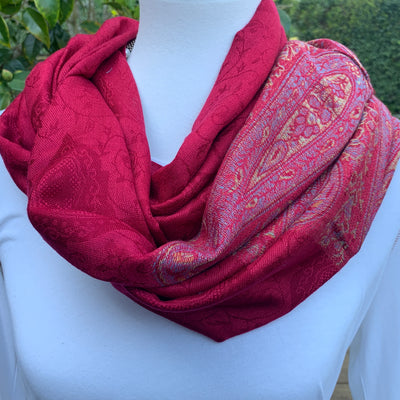 Paisley - Cranberry Red - Pashmina Infinity Scarf  with Reinforced Hidden Zipper Pocket