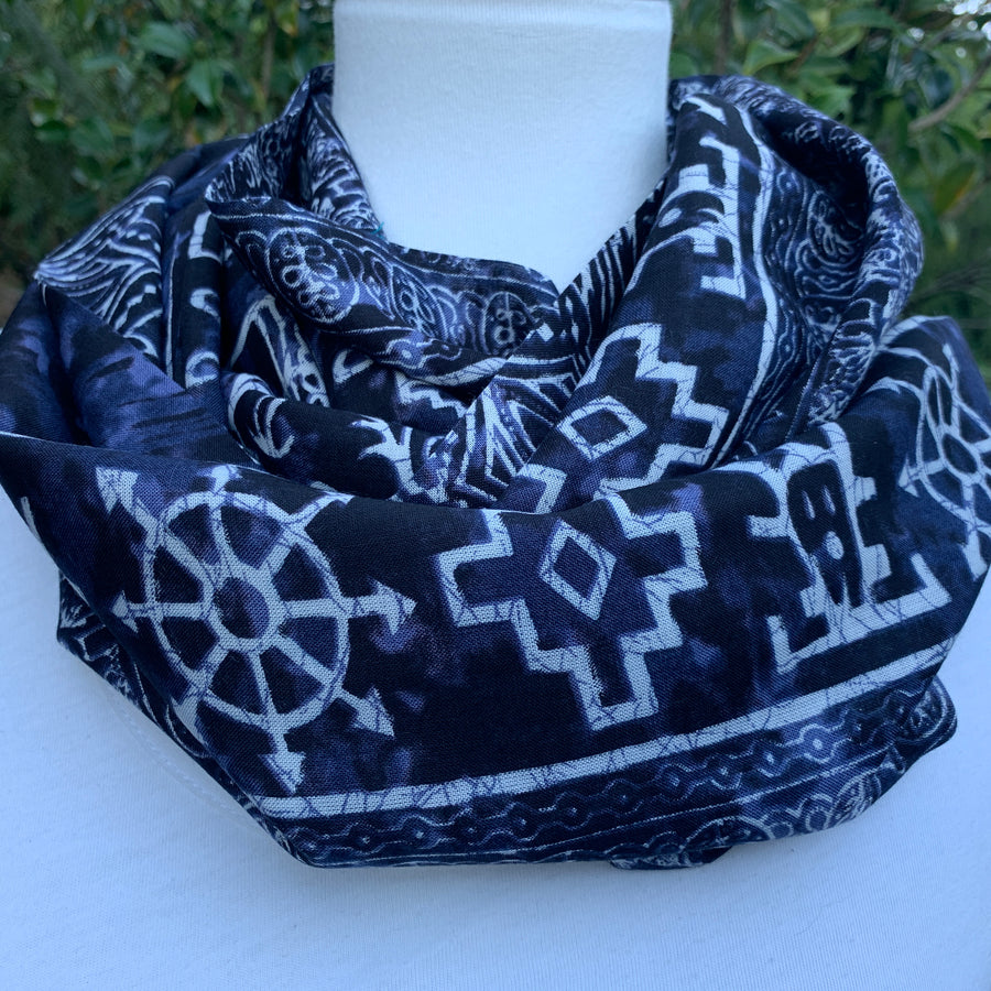 Elephant - Blue Batik Infinity Scarf with Hidden Zipper Pocket