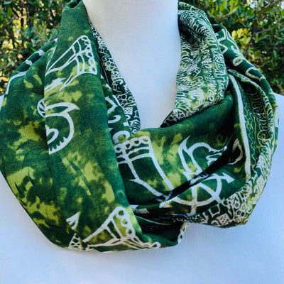 Elephant -Batik -  Lime Green Infinity Scarf with Hidden Zipper Pocket