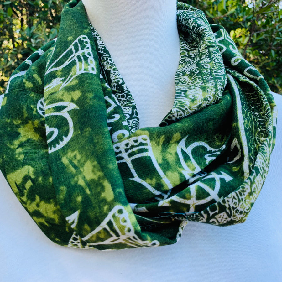 Elephant - Lime Green Infinity Scarf with Hidden Zipper Pocket