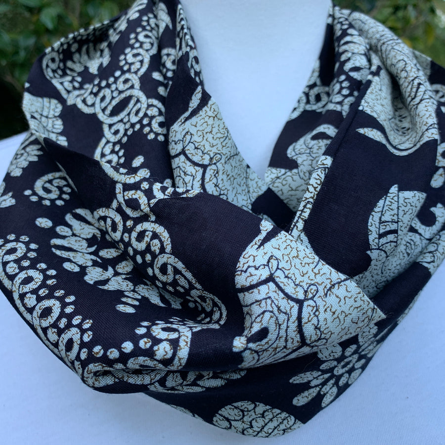 Elephant - Black & Ivory -Infinity Scarf with Hidden Zipper Pocket