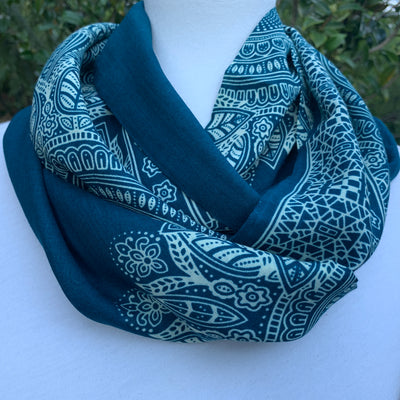 Paisley- Teal & Ivory