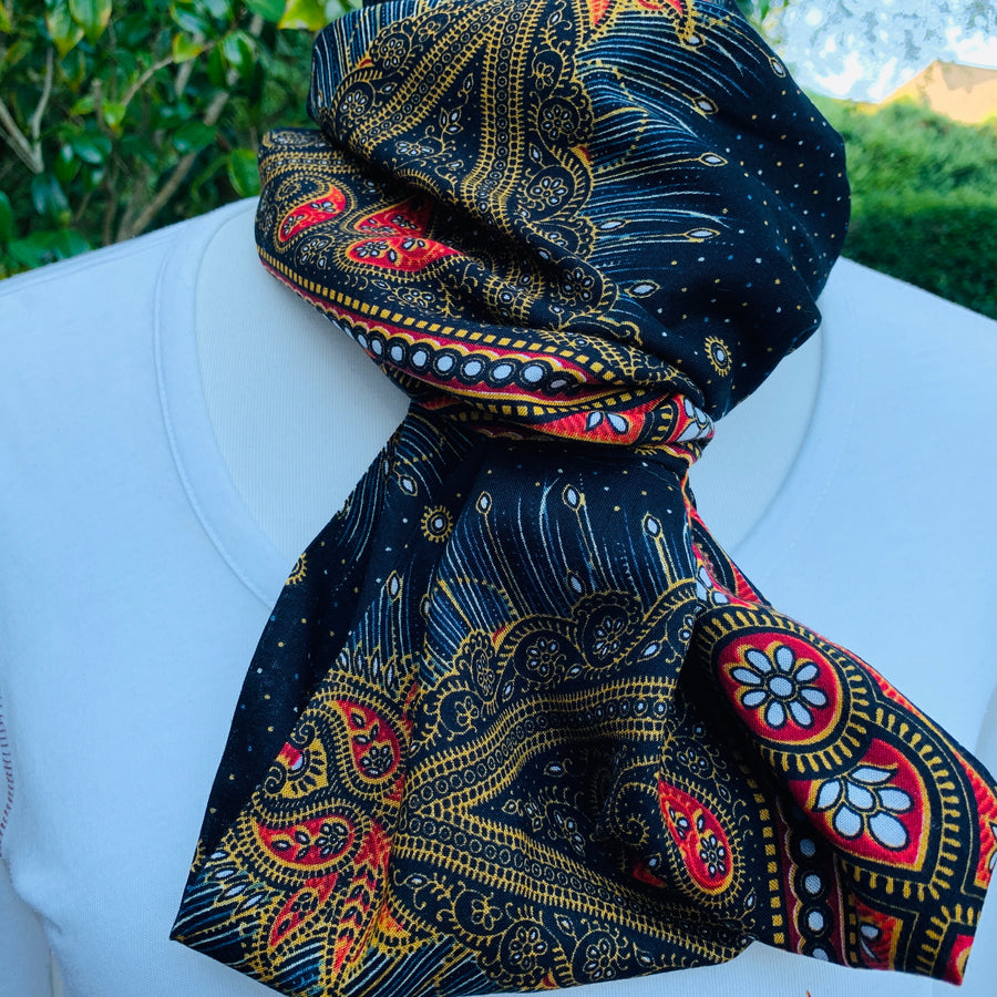 Pattern -  Black, Saffron Orange  w/Peacock Infinity Scarf - Reversible